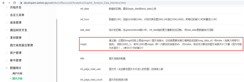 查看微信官方文档 - 公众号 - 数据统计 - 图文分析 - 返回参数说明。请注意:这里的msgid实际上是由msgid(图文消息id,这也就是群发接口调用后返回的msg_data_id)和index(消息次序索引)组成, 例如12003_3, 其中12003是msgid,即一次群发的消息的id; 3为index,假设该次群发的图文消息共5个文章(因为可能为多图文),3表示5个中的第3个。