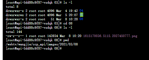 在运行命令行脚本时,使用 root 用户创建目录:/webtv/wangjie/ccp_api/images/2021/03/08,创建文件:1615170036.5115.2027450777.png。目录的所有者与所属的组皆为 root。