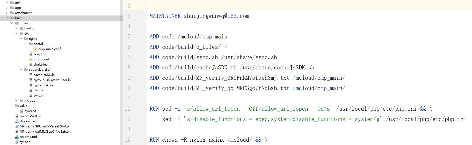 查看 Dockerfile ,应该是 ADD 命令的行数过多了一些,进而导致空间不足。