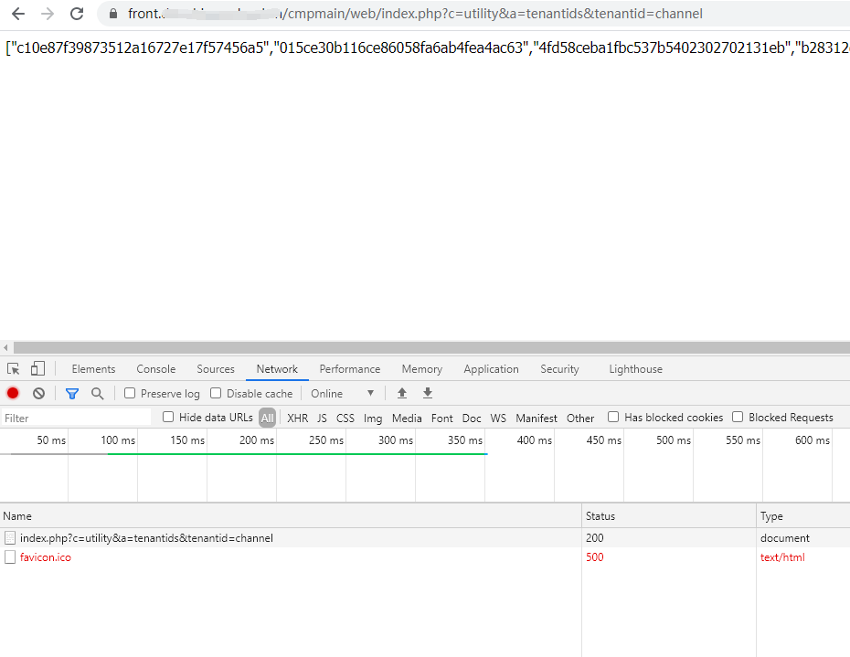 访问动态文件:https://front.xxx.com/cmpmain/web/index.php?c=utility&a=tenantids&tenantid=channel ,响应成功。