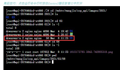 删除目录:/webtv/wangjie/ccp_api/images/2021/03/08。在运行命令行脚本时,使用 root 用户创建目录:/webtv/wangjie/ccp_api/images/2021/03/08,创建文件:1615173793.3843.742805318.png。目录的所有者与所属的组皆为 nginx。符合预期。