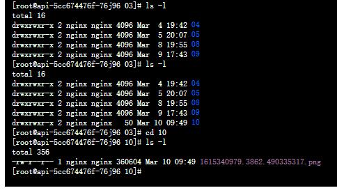 在运行 HTTP 接口时,使用 nginx 用户创建目录:/webtv/wangjie/ccp_api/images/2021/03/10,创建文件:1615340979.3862.490335317.png。目录的所有者与所属的组皆为 nginx。符合预期。