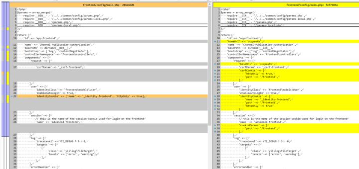 从多域名模式修改为单域名模式,修改了文件:frontend/config/main.php。