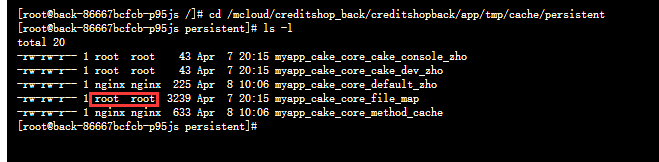 进入目录:/mcloud/creditshop_back/creditshopback/app/tmp/cache/persistent,查看所属用户与用户组,皆为:root。