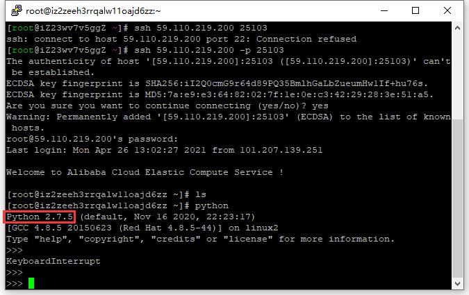 查看 python 版本,Python 2.7.5。版本符合要求。