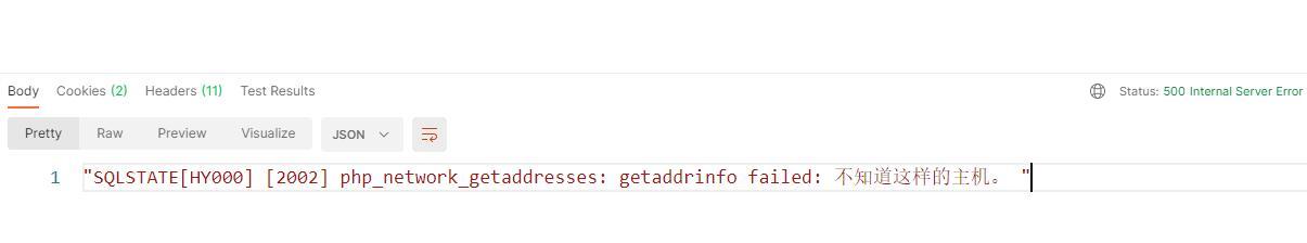 """编辑代码,mb_convert_encoding — 转换字符的编码。响应状态码为:500,响应体为:""""SQLSTATE[HY000] [2002] php_network_getaddresses: getaddrinfo failed: 不知道这样的主机。 """"。"""