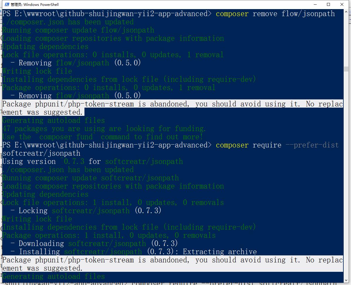 包 flow/jsonpath 被放弃了,您应该避免使用它。请改用 softcreatr/jsonpath。决定卸载 flow/jsonpath ,安装 softcreatr/jsonpath。