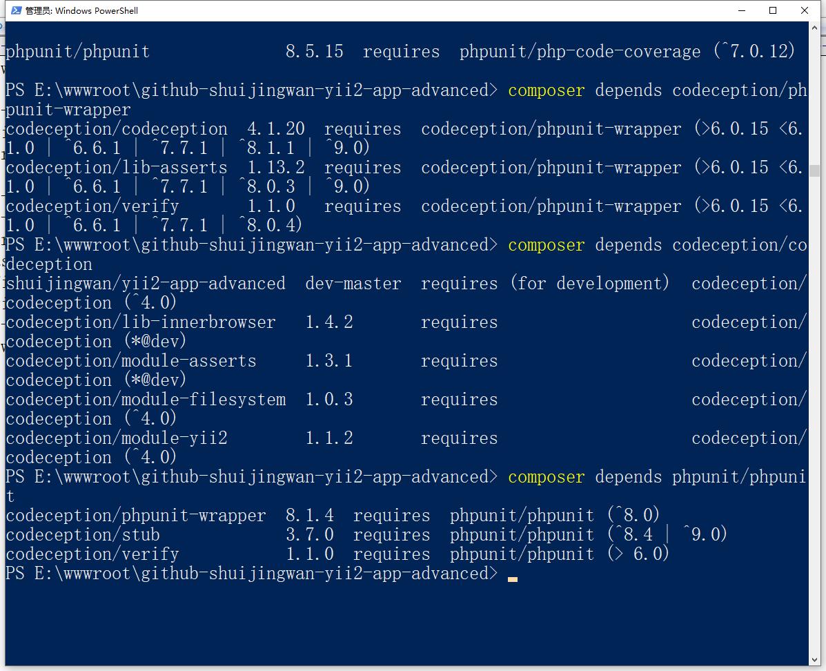 软件包 phpunit/php-token-stream 被放弃了,您应该避免使用它。没有建议更换。使用 依赖性检测 depends 命令可以查出已安装在你项目中的某个包,是否正在被其它的包所依赖,并列出他们。得出结论:phpunit/php-code-coverage 依赖于 phpunit/php-token-stream,codeception/phpunit-wrapper、phpunit/phpunit 依赖于 phpunit/php-code-coverage,codeception/codeception、codeception/lib-asserts、codeception/verify 依赖于 codeception/phpunit-wrapper,层层依赖。决定保持此提示,暂时无解决方案。