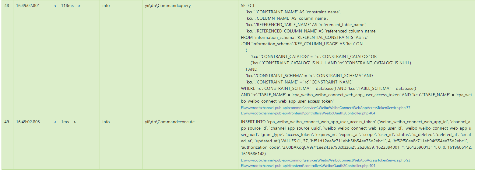 查看 Log Messages,在 E:\wwwroot\channel-pub-api\common\services\WeiboWeiboConnectWebAppAccessTokenService.php:92 处就停止往下执行了,实则应该继续执行才是。