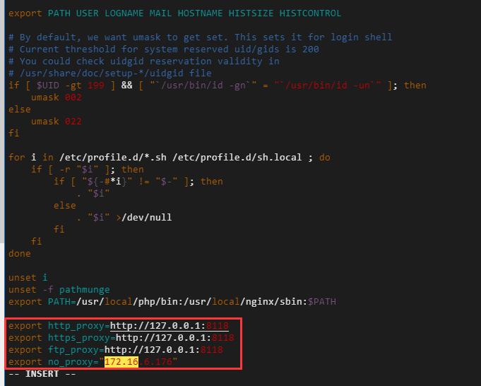 设置 http/https 代理,修改配置文件 /etc/profile。172.16.6.176 为服务器内网IP,表示不用代理