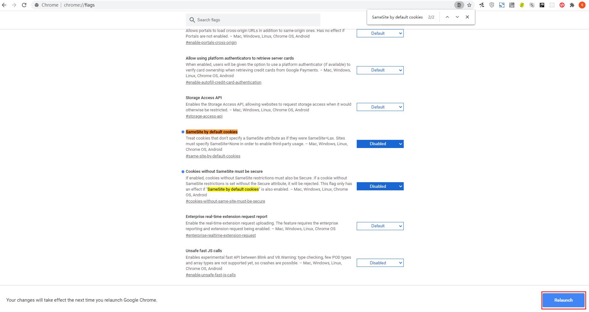 基于第三步,chrome://flags/,把这句复制到浏览器回车。SameSite by default cookies,其值:Default -> Disabled;Cookies without SameSite must be secure,其值:Default -> Disabled;Schemeful Same-Site,其值:Default -> Disabled。重启浏览器生效。