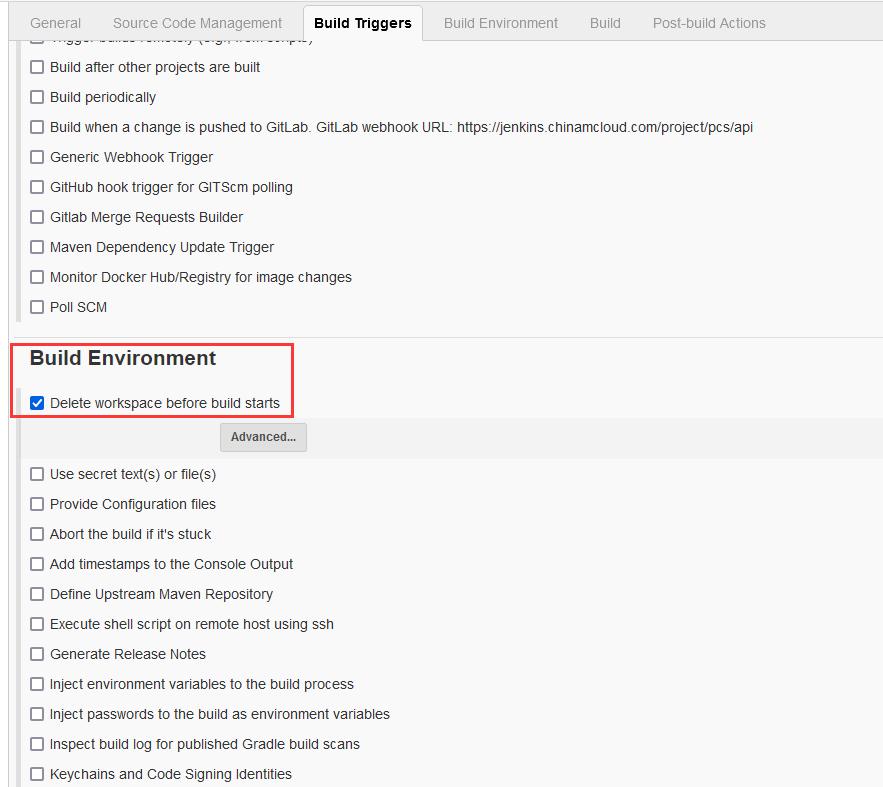 Configure -> Build Environment -> Delete workspace before build starts (勾选)。构建环境 -> 在构建开始前删除工作区。