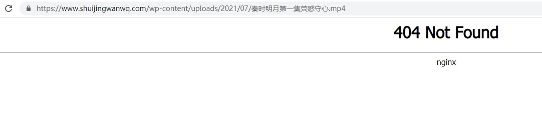 HTTP 访问:https://www.shuijingwanwq.com/wp-content/uploads/2021/07/秦时明月第一集荧惑守心.mp4 时响应 404。
