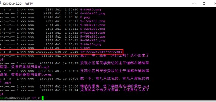基于 PuTTY 登录 CentOS 服务器,进入目录:/wp-content/uploads/2021/07/。发现文件:秦时明月第一集荧惑守心.mp4 的文件名乱码。