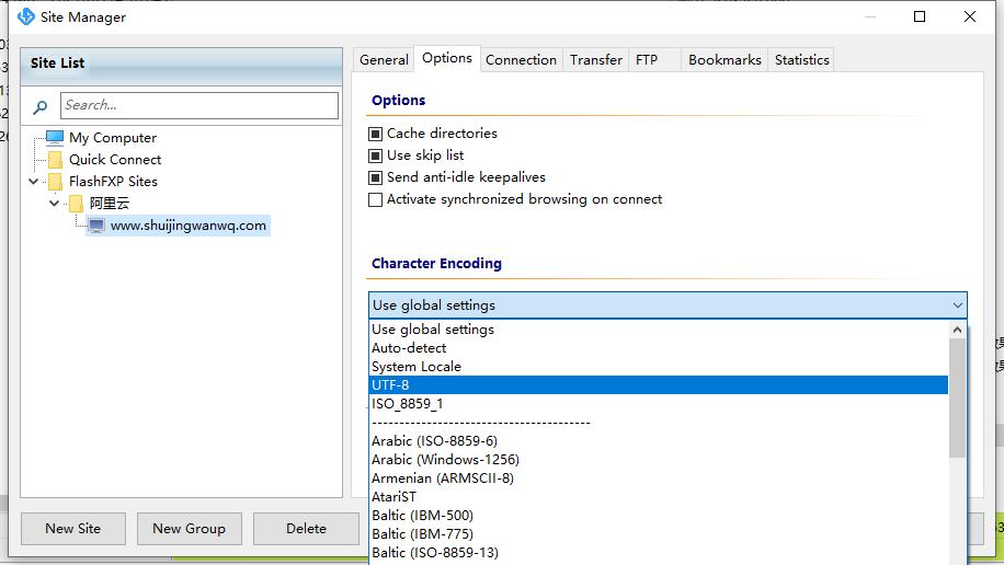 """选择""""Sites""""–下拉菜单中点击""""Site Manager"""",然后选中站点(这里选择的是www.shuijingwanwq.com),在右侧工具栏中点击""""Options"""",导航至【Character Encoding】栏,设置为 UTF-8,然后重新连接下即可。"""