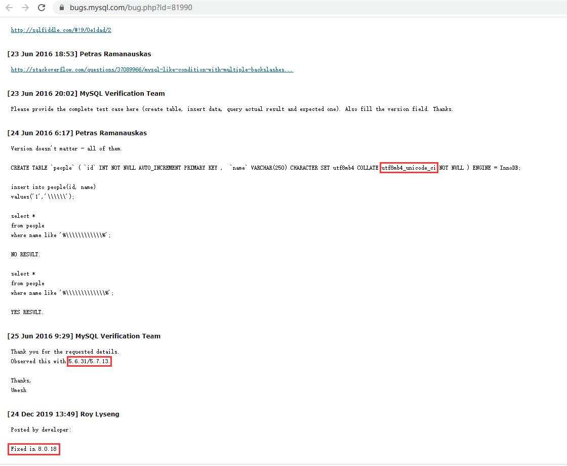 查看 MySQL 官方文档,参考:https://bugs.mysql.com/bug.php?id=81990 。在 MySQL 版本:5.6.31/5.7.13 中,排序规则,其值为:utf8mb4_unicode_ci 时,皆需要针对 \ 的搜索,再添加 1 根,才能够搜索出结果。此 Bug 在 MySQL 版本:8.0.18 得以修复