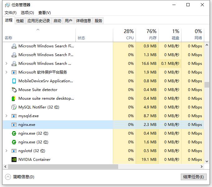 查看任务管理器,除了原生的 Nginx 软件,还增加了:nginx.exe 。