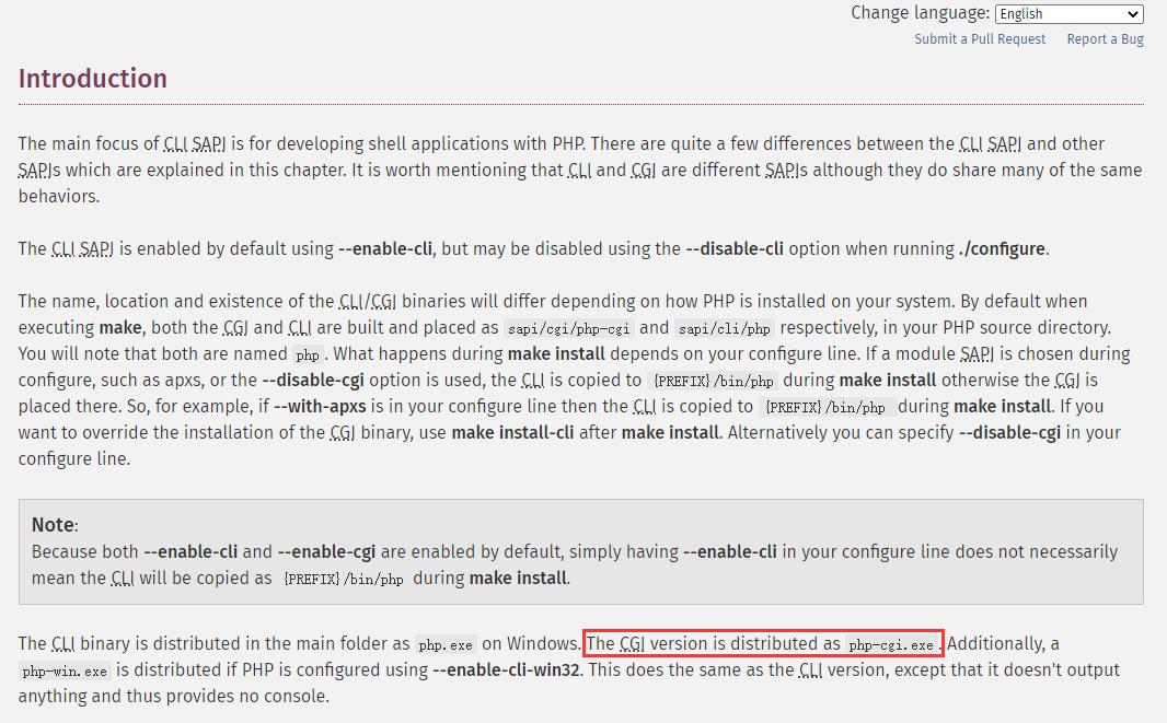 切换至英文页面,The CGI version is distributed as php-cgi.exe。因此,可以确定中文页面错误。