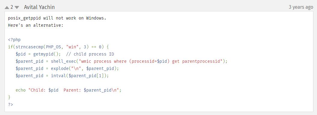 posix_getppid 在 Windows 上不起作用。这是一个替代方案。参考网址:https://www.php.net/manual/zh/function.posix-getppid 。判断是否是 Windows 系统,如果是,就使用替代方案。