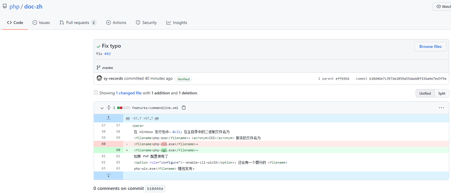 最终的提交结果。已经收到回复。官方已经在 Git 中修正。