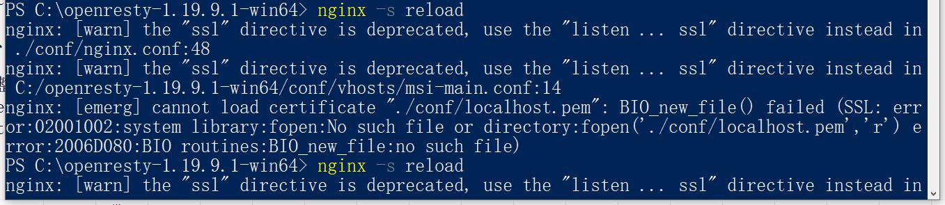 迁移原生的 Nginx 软件 nginx.conf 的配置项至 openresty 的 nginx.conf。重新加载,报错。
